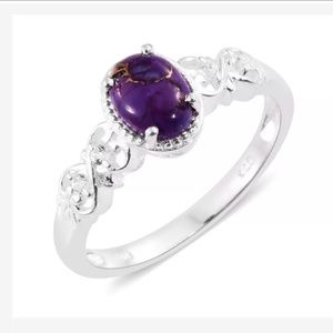 LC Jewelry - Purple Turquoise & Topaz Sterling Silver Ring